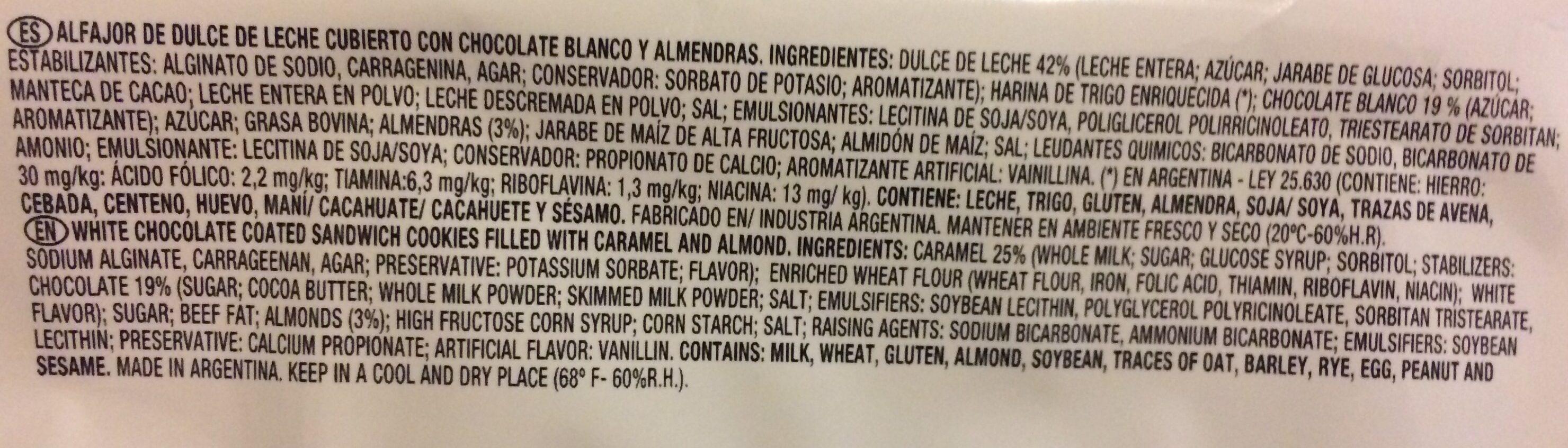 Alfajor Cholate Blanco y Almendr Bagley - Ingrédients - en