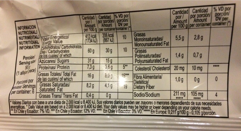 Alfajor Cholate Blanco y Almendr Bagley - Informations nutritionnelles - en