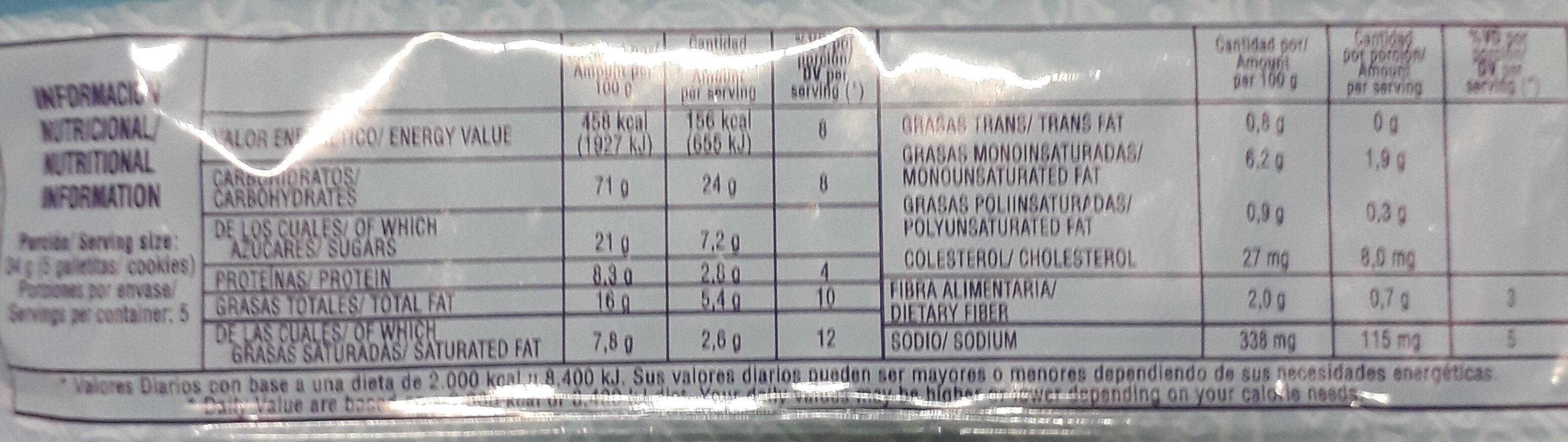 Coquitas - Informations nutritionnelles - es