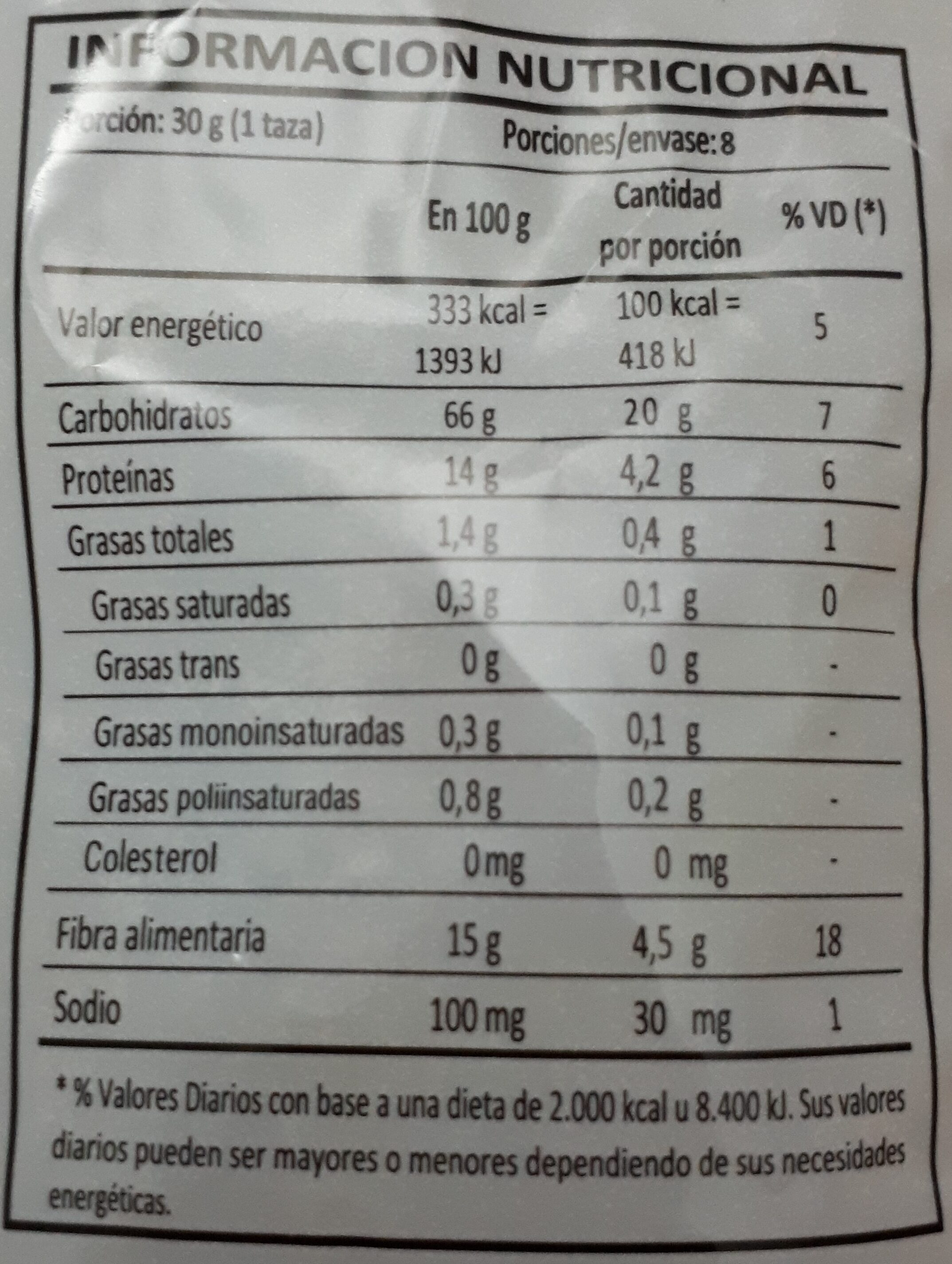Fibra Total 4 Fibras - Nutrition facts - es