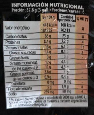 Frutigran Semillas (Avena, Chía, Lino) - Informação nutricional - es