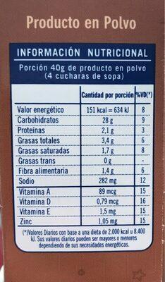 Chocolate alto y esponjoso - Informació nutricional - es