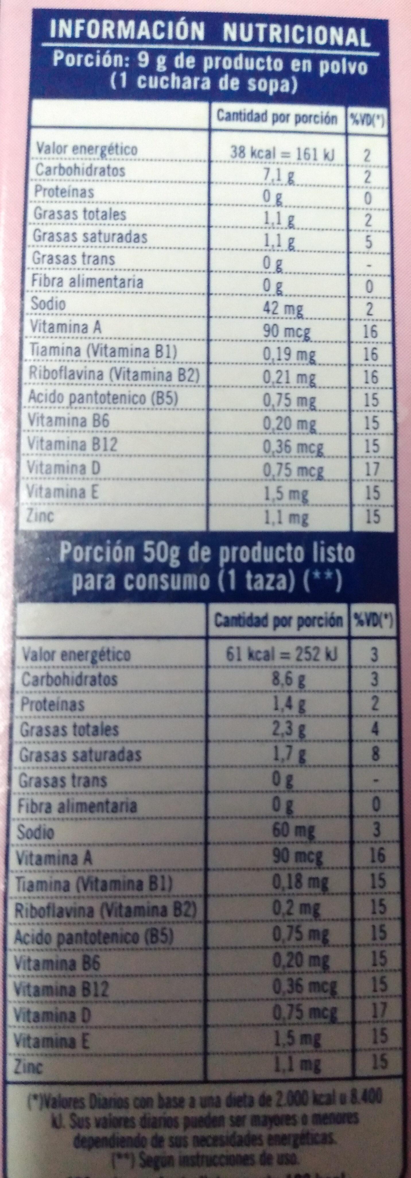 Helado sabor frutilla - Informations nutritionnelles - es