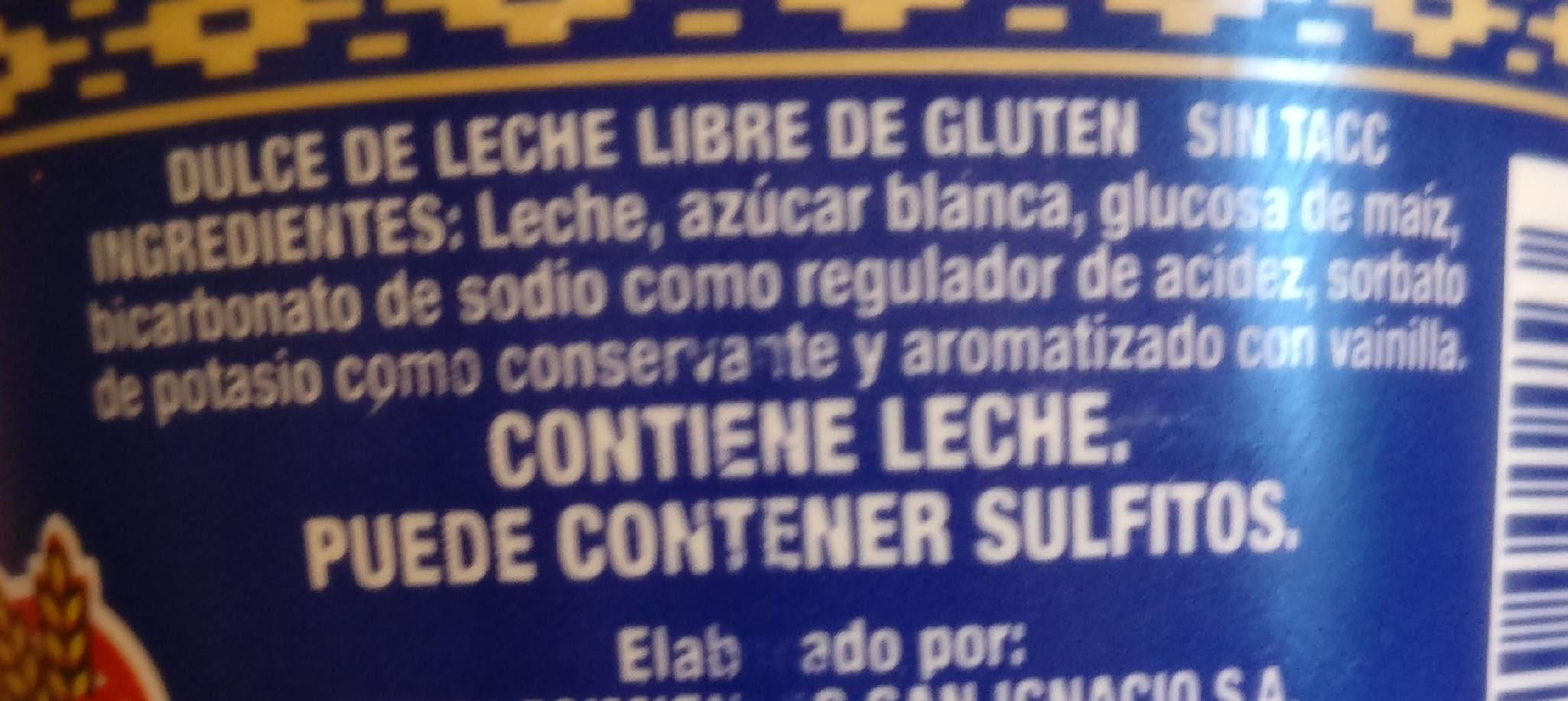Dulce Leche San Ignacio X 400 G - Ingrédients - fr
