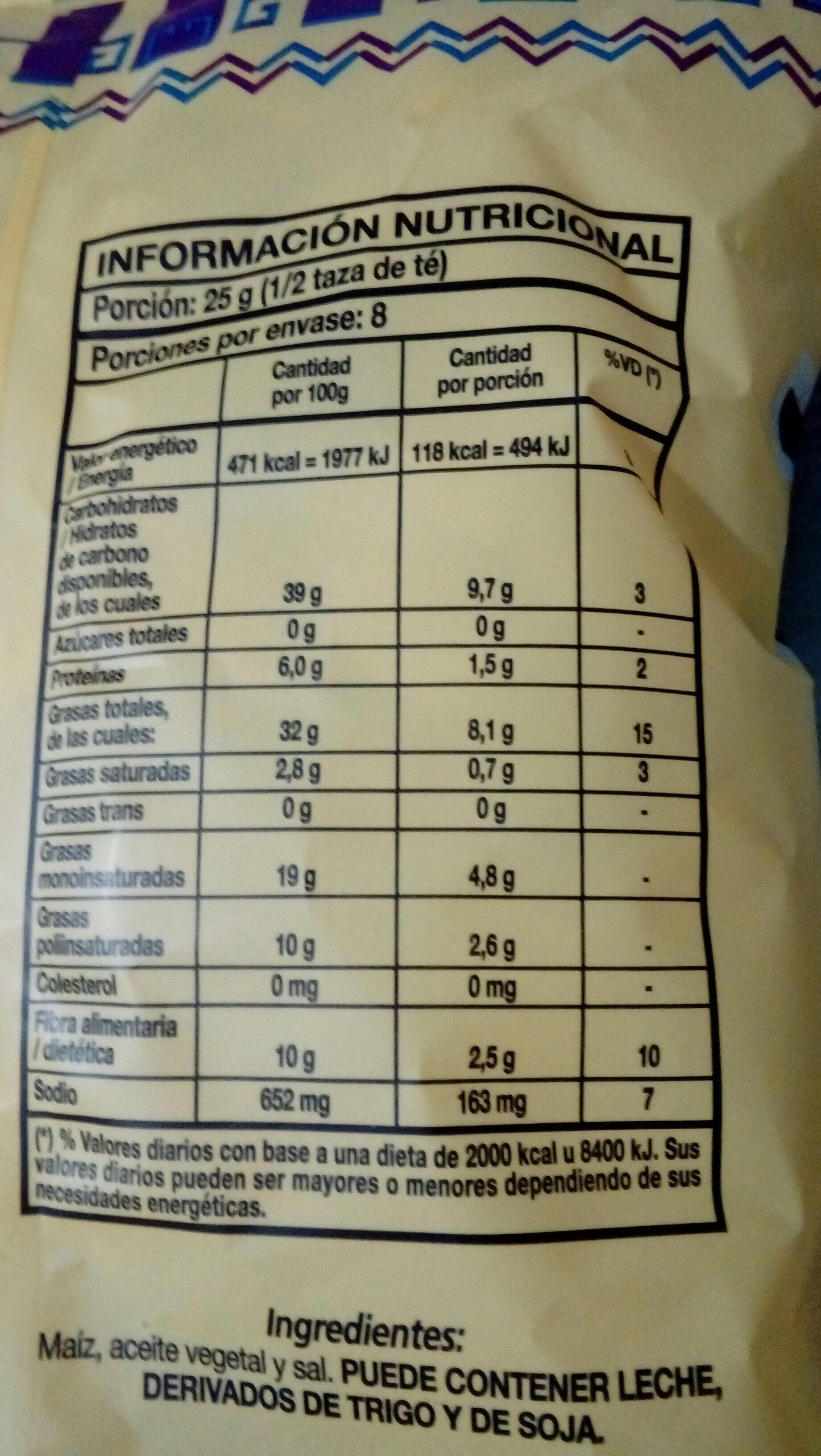 tostitos (nachos) - Nutrition facts - es