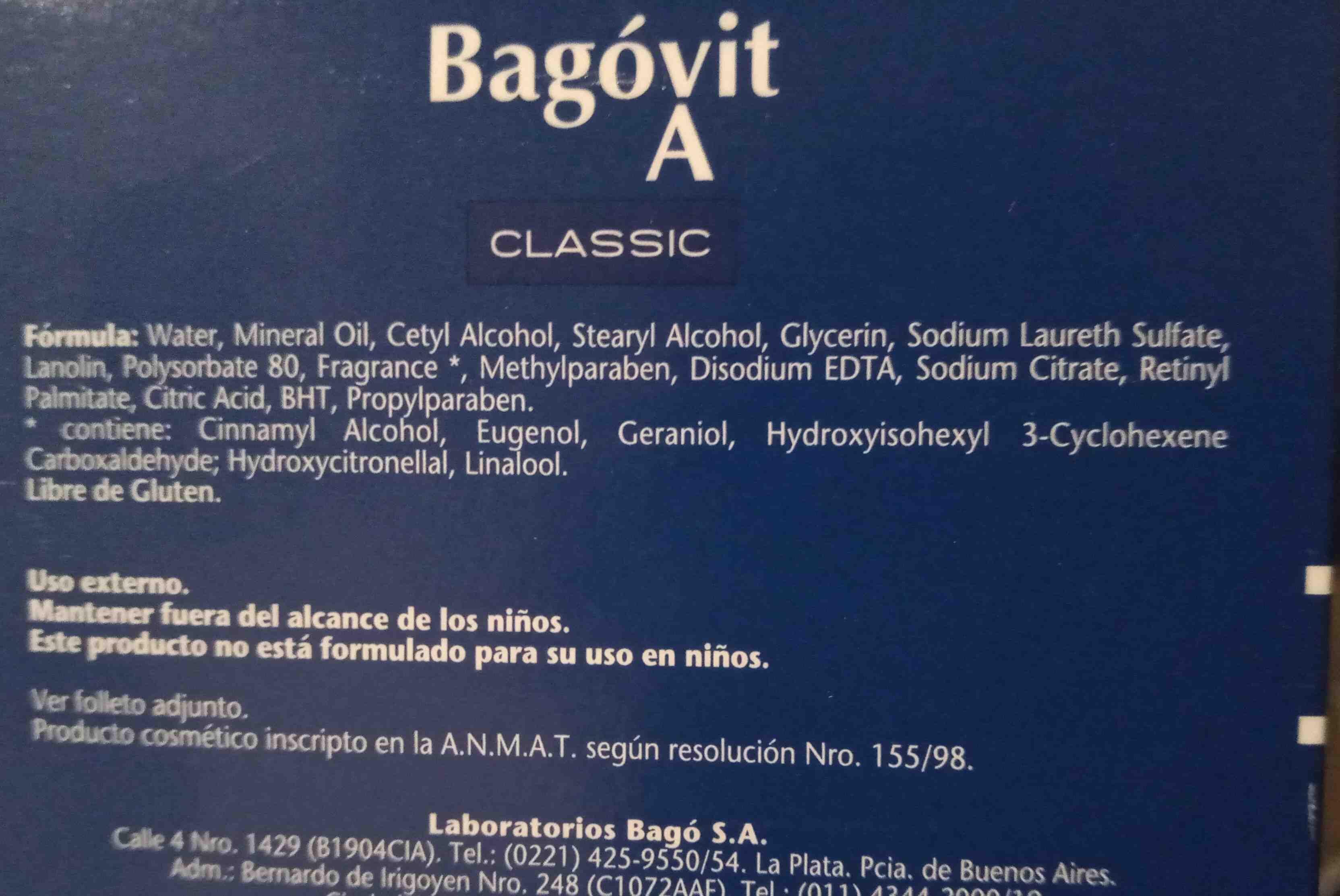 crema bagovit A - Ingredienti - en
