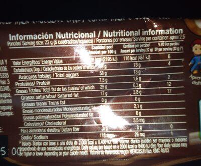chocolate cofler con rocklets - Informations nutritionnelles - es