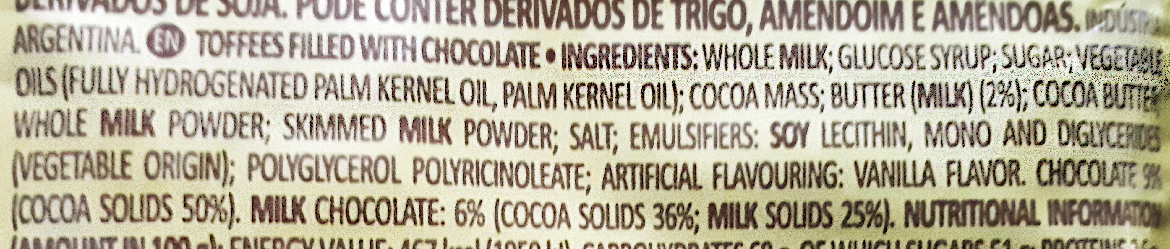 Butter Toffees Chocolate - Ingredientes - en