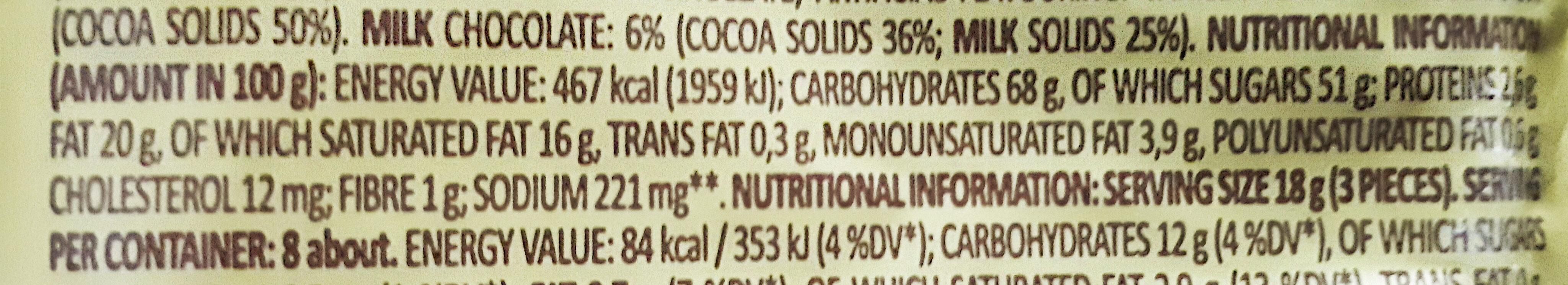 Butter Toffees Chocolate - Informação nutricional - en
