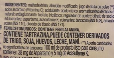 Jugo en polvo sabor mango naranja - Ингредиенты - es