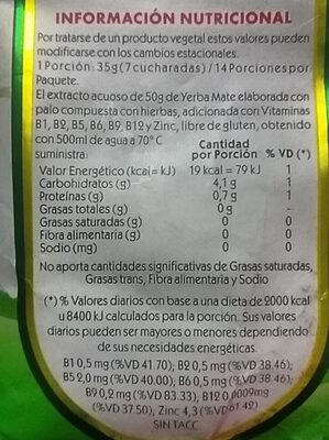 Yerba Mate Silueta - Nutrition facts - es