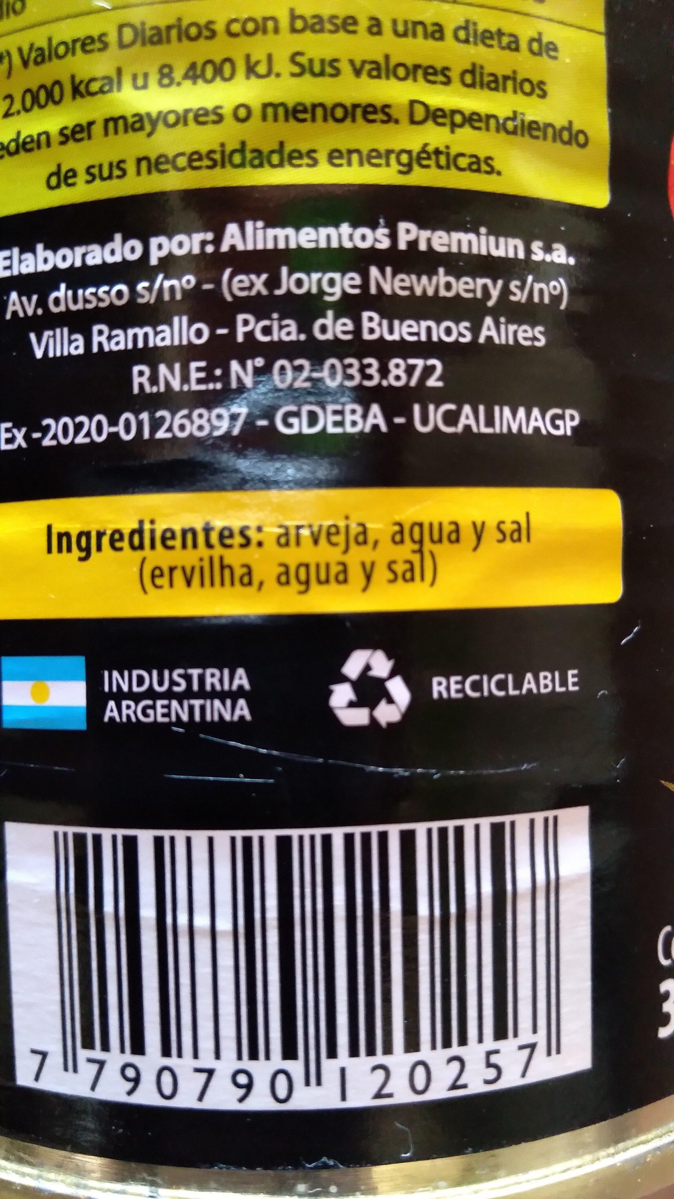 Arvejas - Ingrédients - es