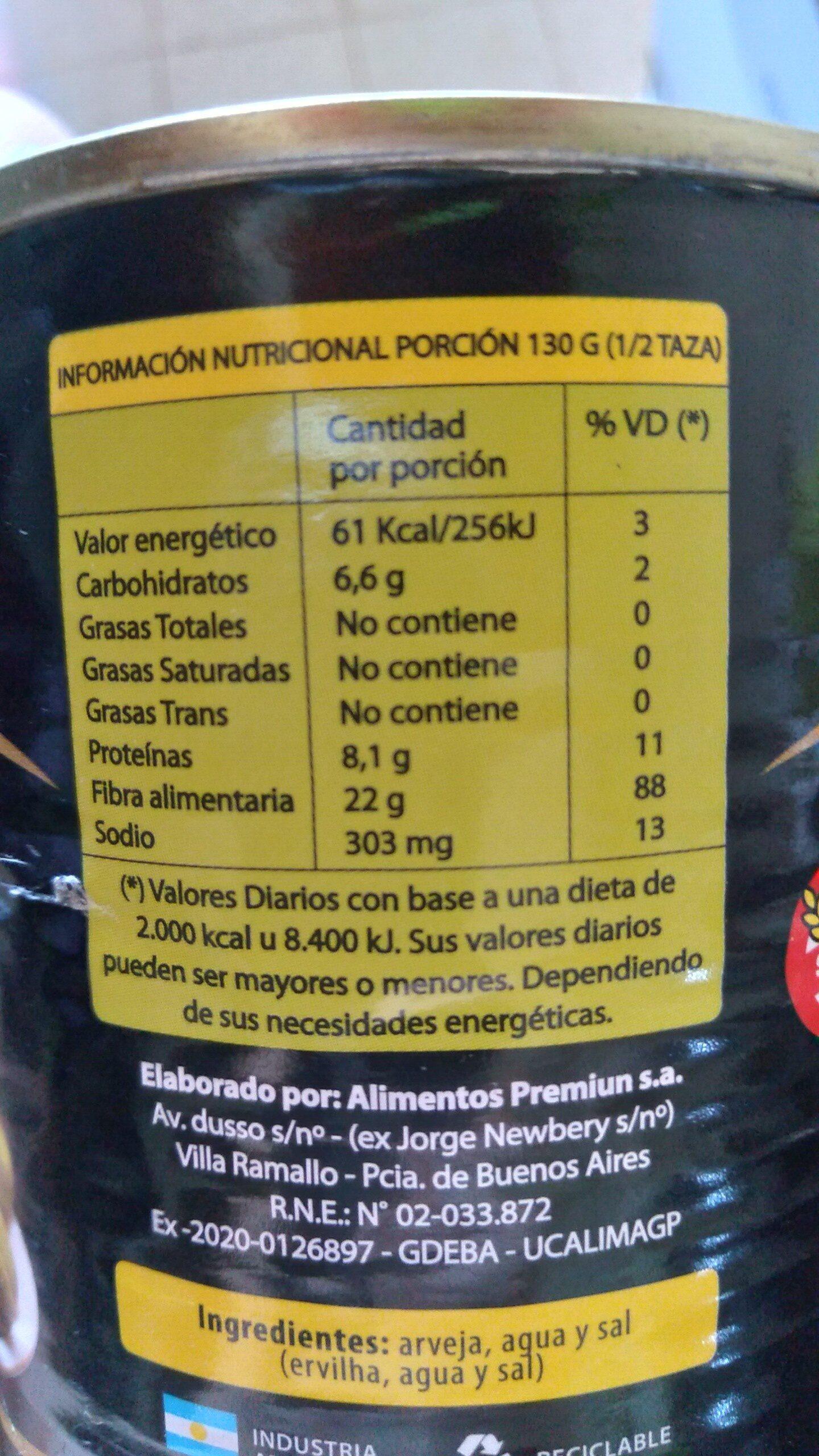 Arvejas - Informations nutritionnelles - es