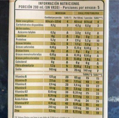 SOJA SABOR NATURAL - Informations nutritionnelles - es