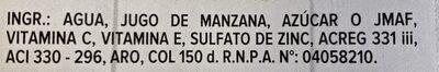 Jugo de Manzana - Ingredienti - es