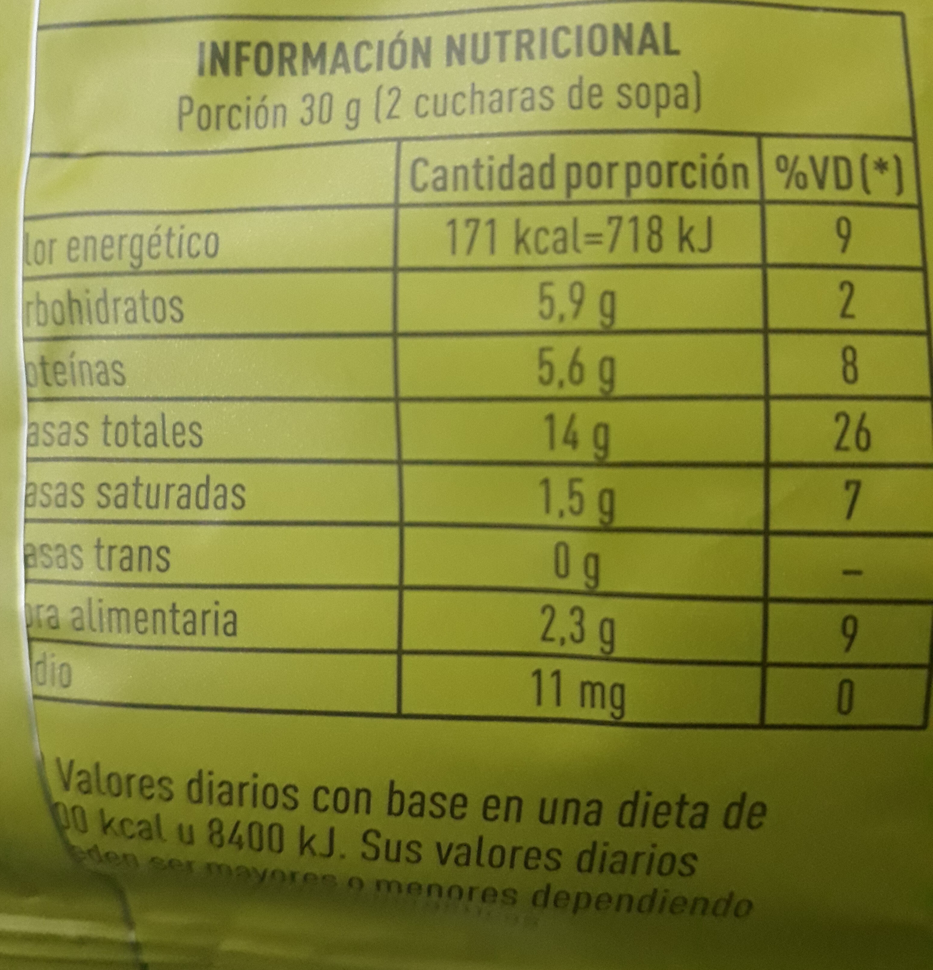 mix semillado - Nutrition facts
