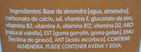 Bebida a base de almendras sabor vainilla sin azúcar. - Ingrédients - es