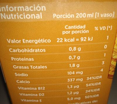 Bebida a base de almendras sabor vainilla sin azúcar. - Informations nutritionnelles - es