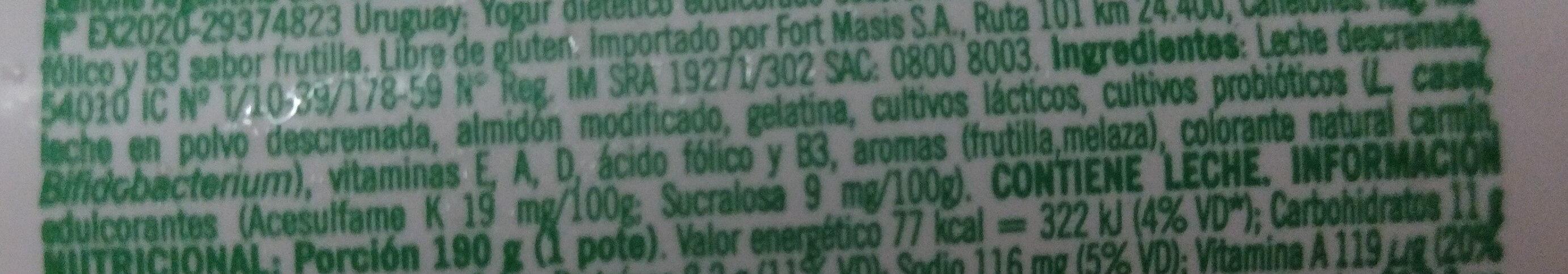 Ser Firme sabor frutilla - Ingrédients - es