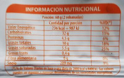 Budín Naranja y Cointreau con cáscara de naranja - Nutrition facts - es