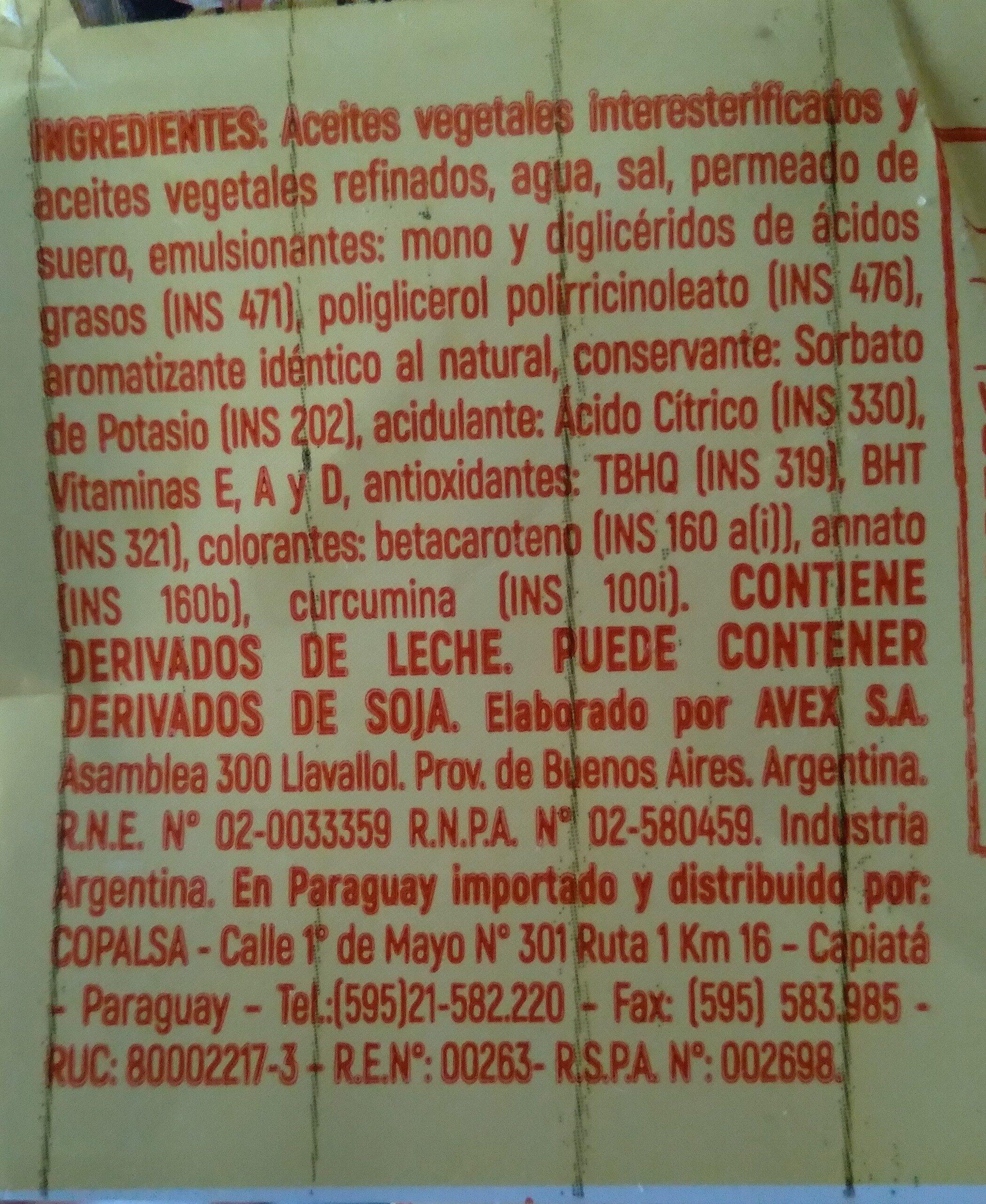 Margarina - Ingrédients - en