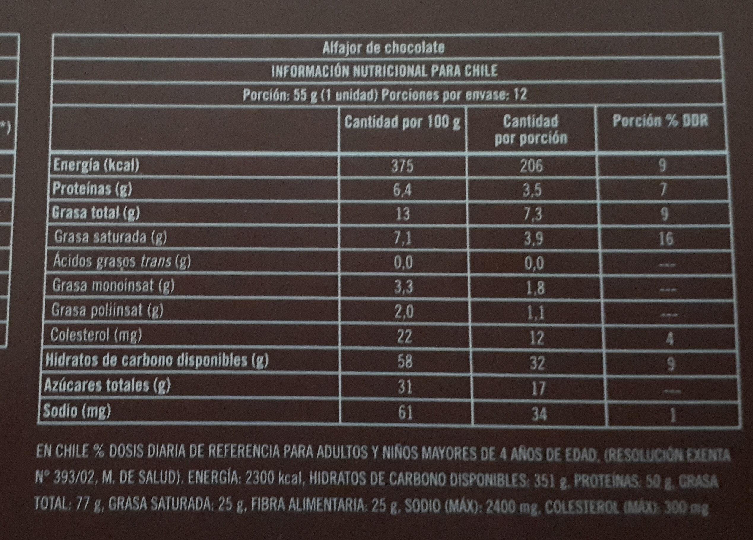 Alfajor de chocolate - Informação nutricional - es