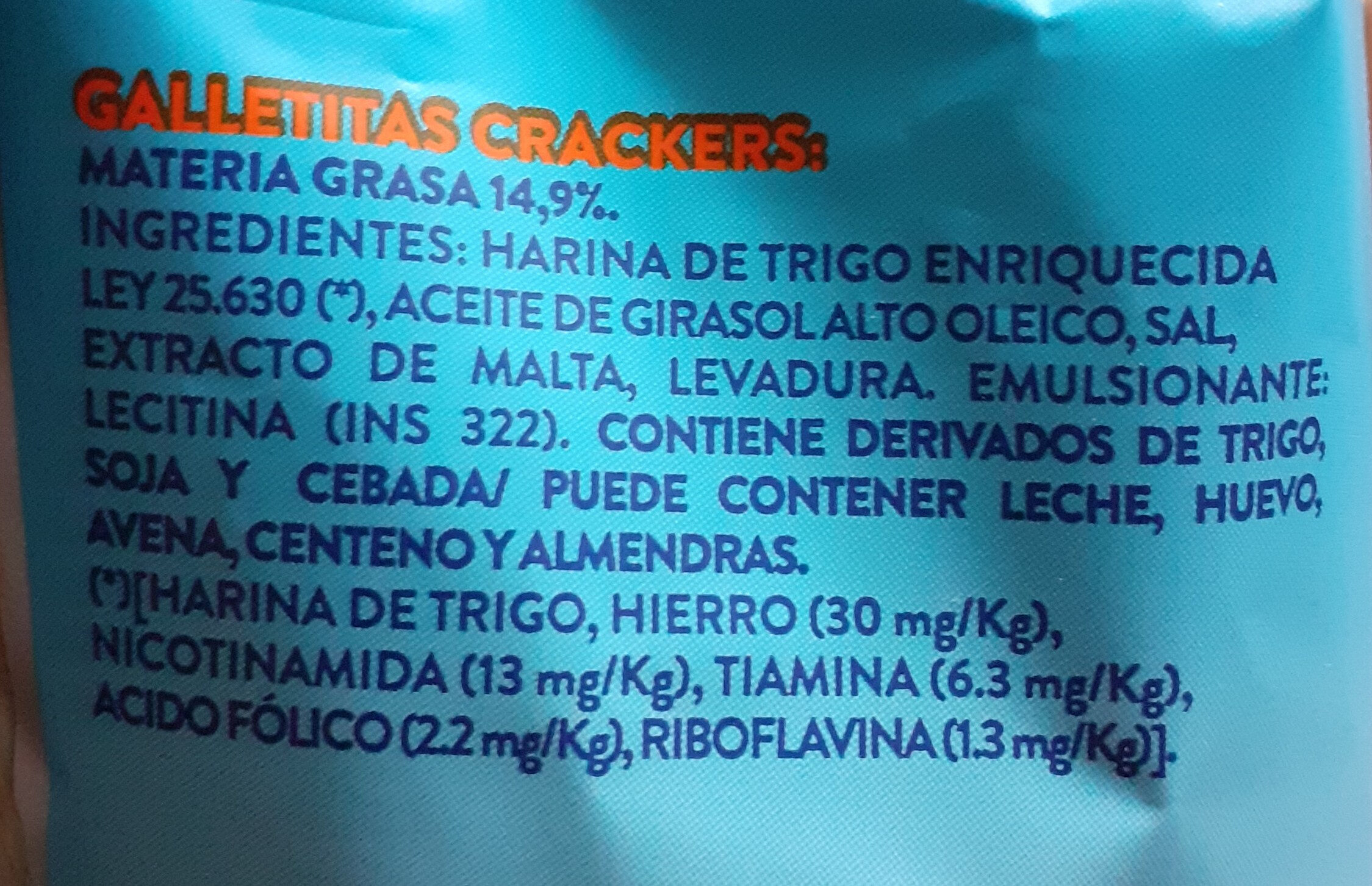Paseo Mini crackers. Molino Canuelas - Ingredients