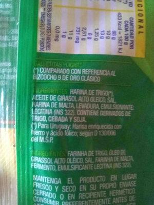 bizcochos 9 de oro light - Ingredients