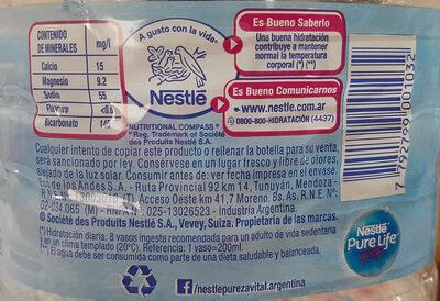 Nestlé Agua - Ingredientes - es