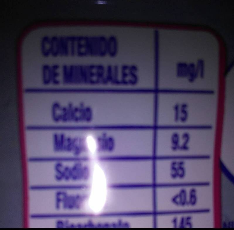 Nestlé Agua - Información nutricional - es