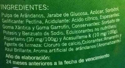 Mermelada de arandanos light Cormillot - Ingrediënten