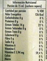 Aceite de oliva orgánico - Informations nutritionnelles - es