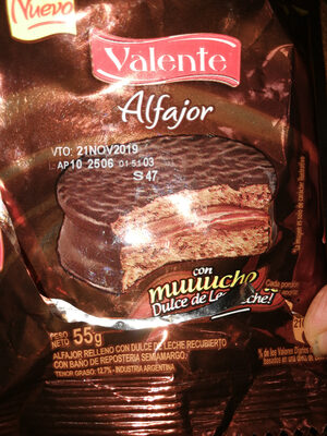 Alfajor relleno de Dulce de Leche con baño de chocolate semiamargo - Product