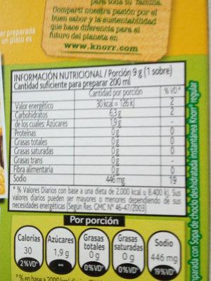 sopa - Ingredientes - es