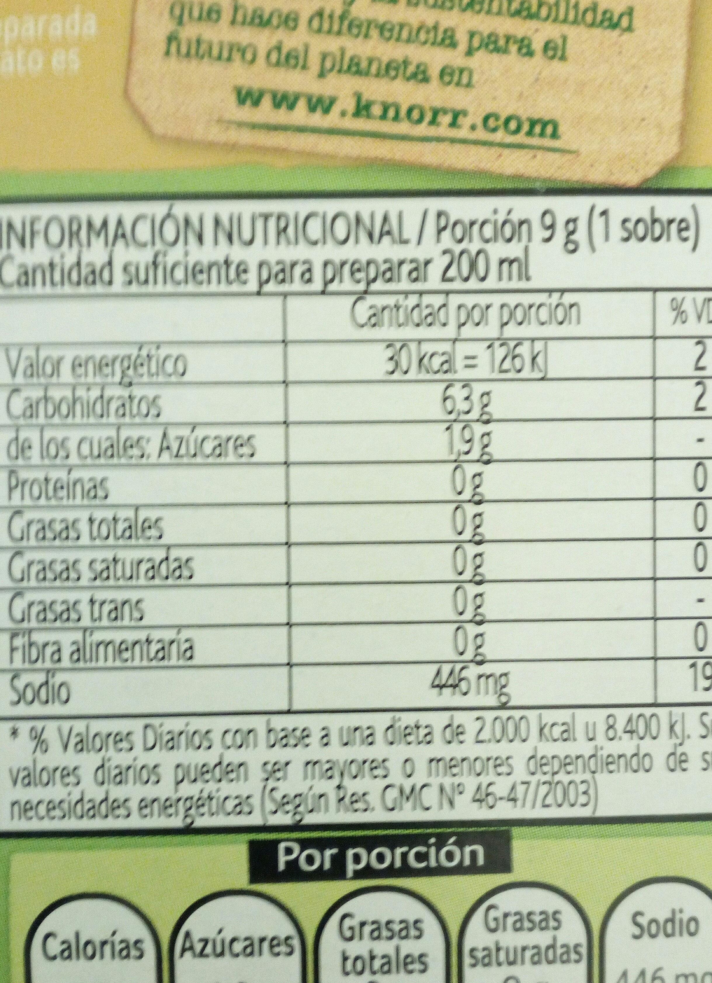 sopa - Información nutricional - es