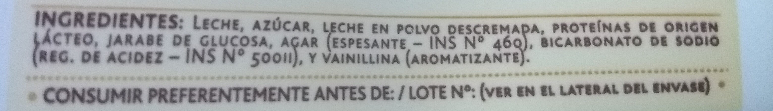 Dulce de leche Clasico - Ingredients - es