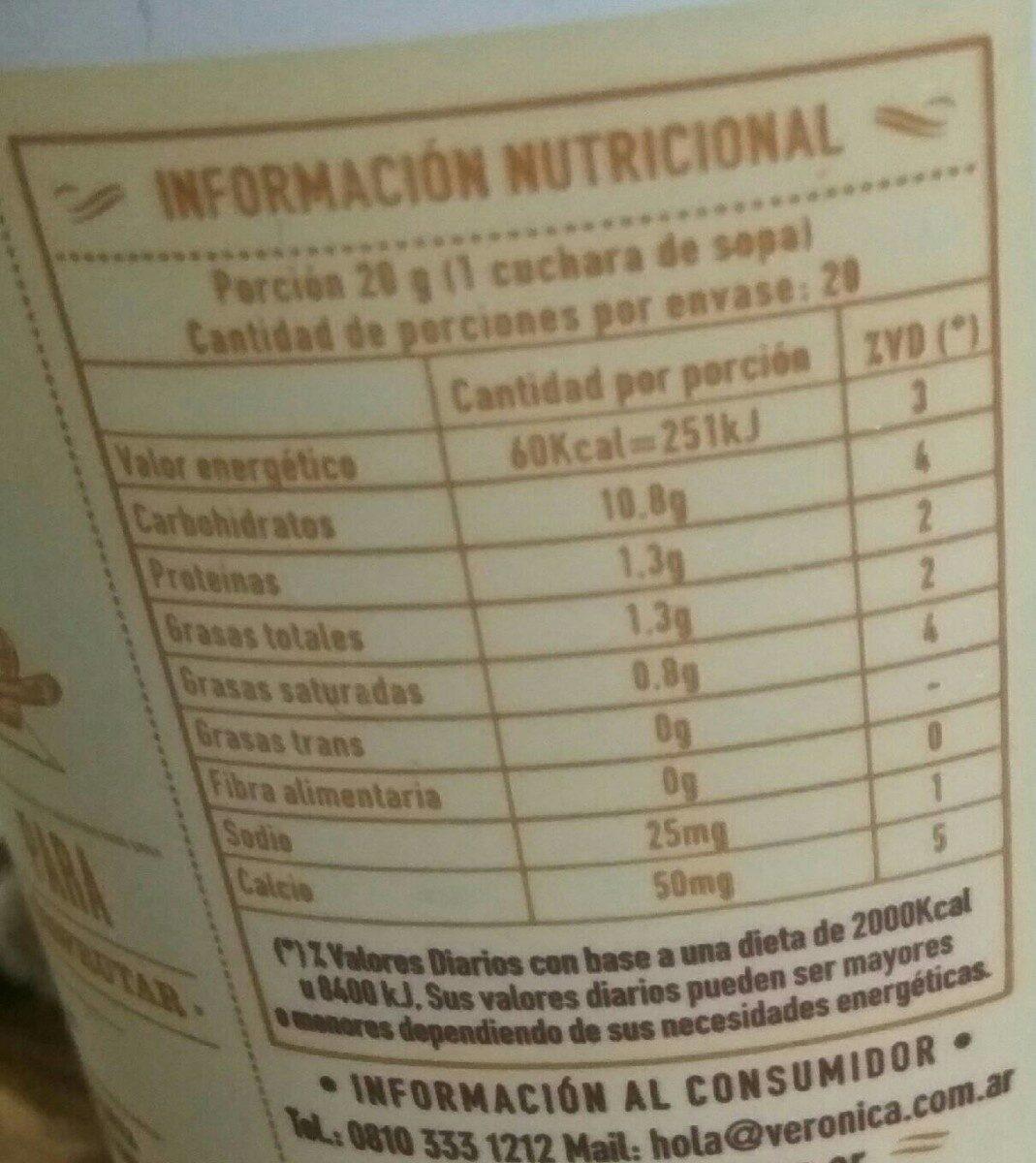 Dulce de leche Clasico - Nutrition facts - es