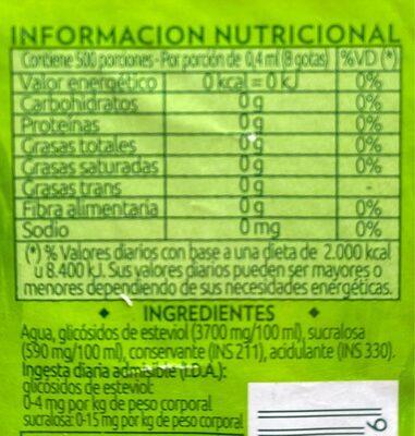 Hileras Stevia - Informations nutritionnelles - fr