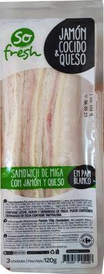 Sandwich de miga con jamón y queso - Produit - es