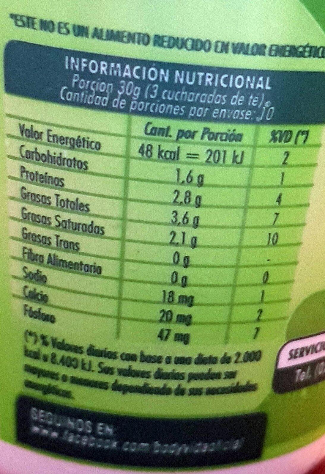 Queso de crema light - Informations nutritionnelles - es