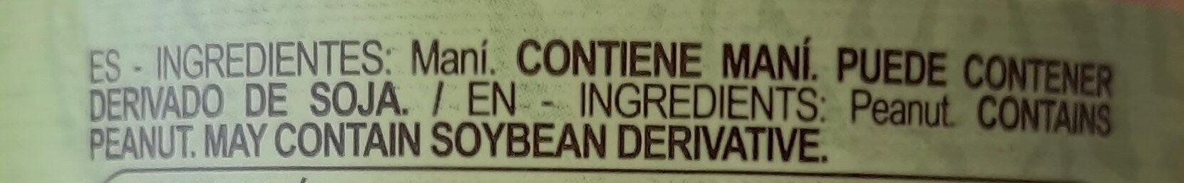 Pasta de maní - Ingredienti - es
