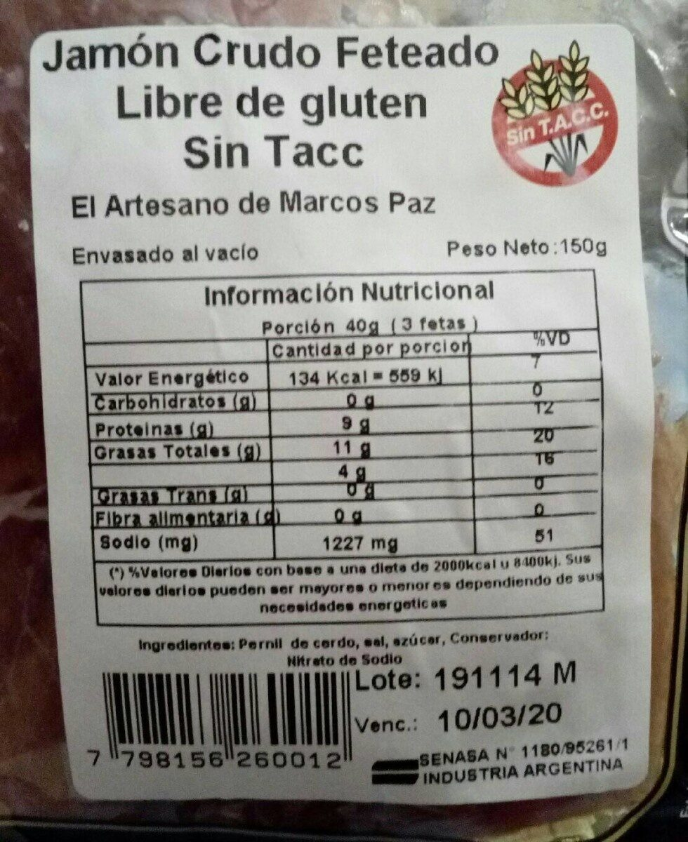 Jamon crudo - Nutrition facts - fr