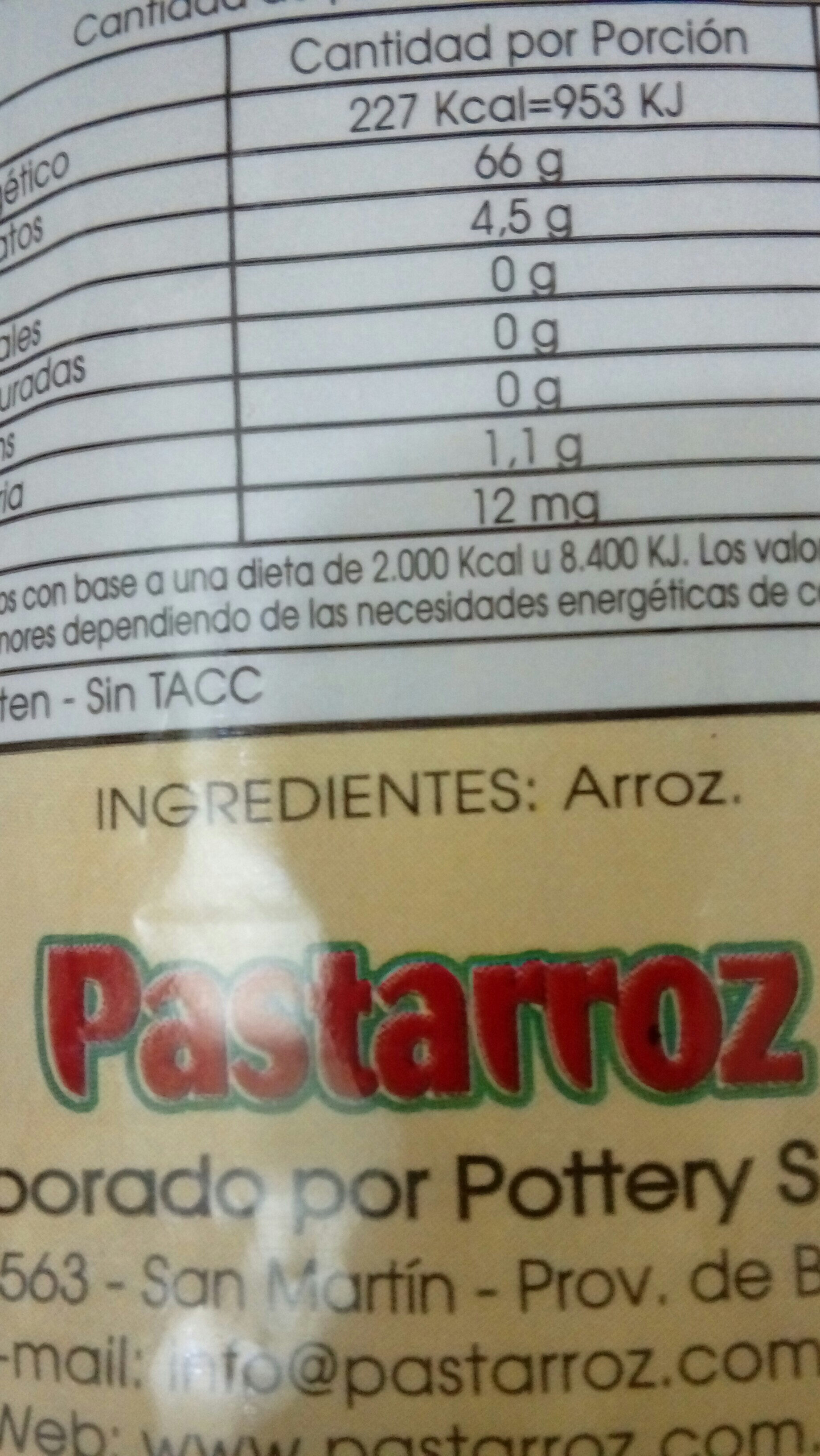 pastarroz - Ingredients - es