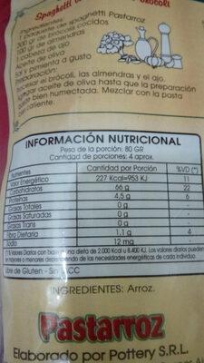 pastarroz - Nutrition facts - es