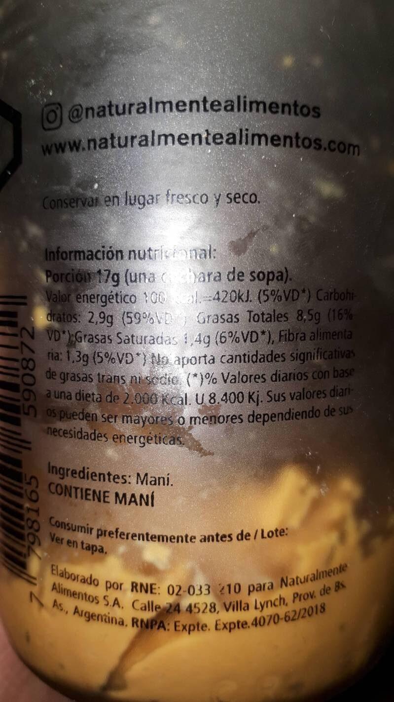 Mantequilla de maní - Información nutricional - es