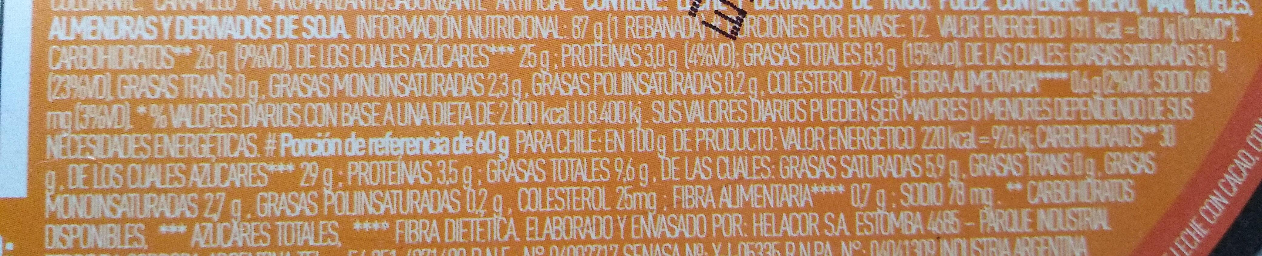 Torta Helada - Informations nutritionnelles - es
