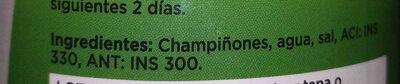 GREAT VALUE Champignones Laminados. - Ingredients - es