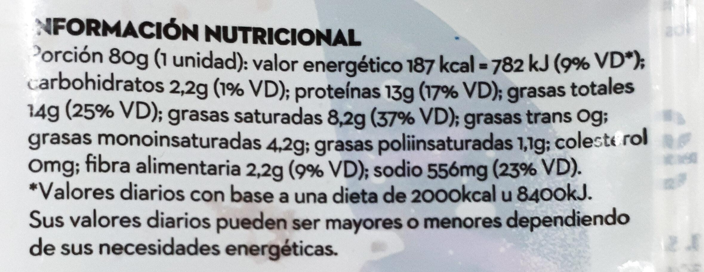 not burger - Informations nutritionnelles - es