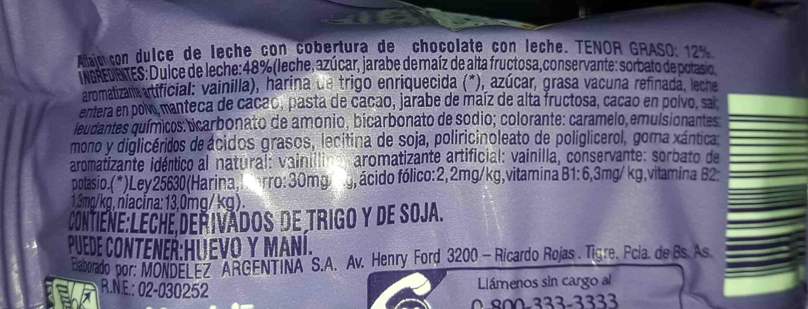 alfajor triple de dulce de leche - Ingredients