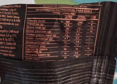 Alfajor cacao puro - 营养成分 - es